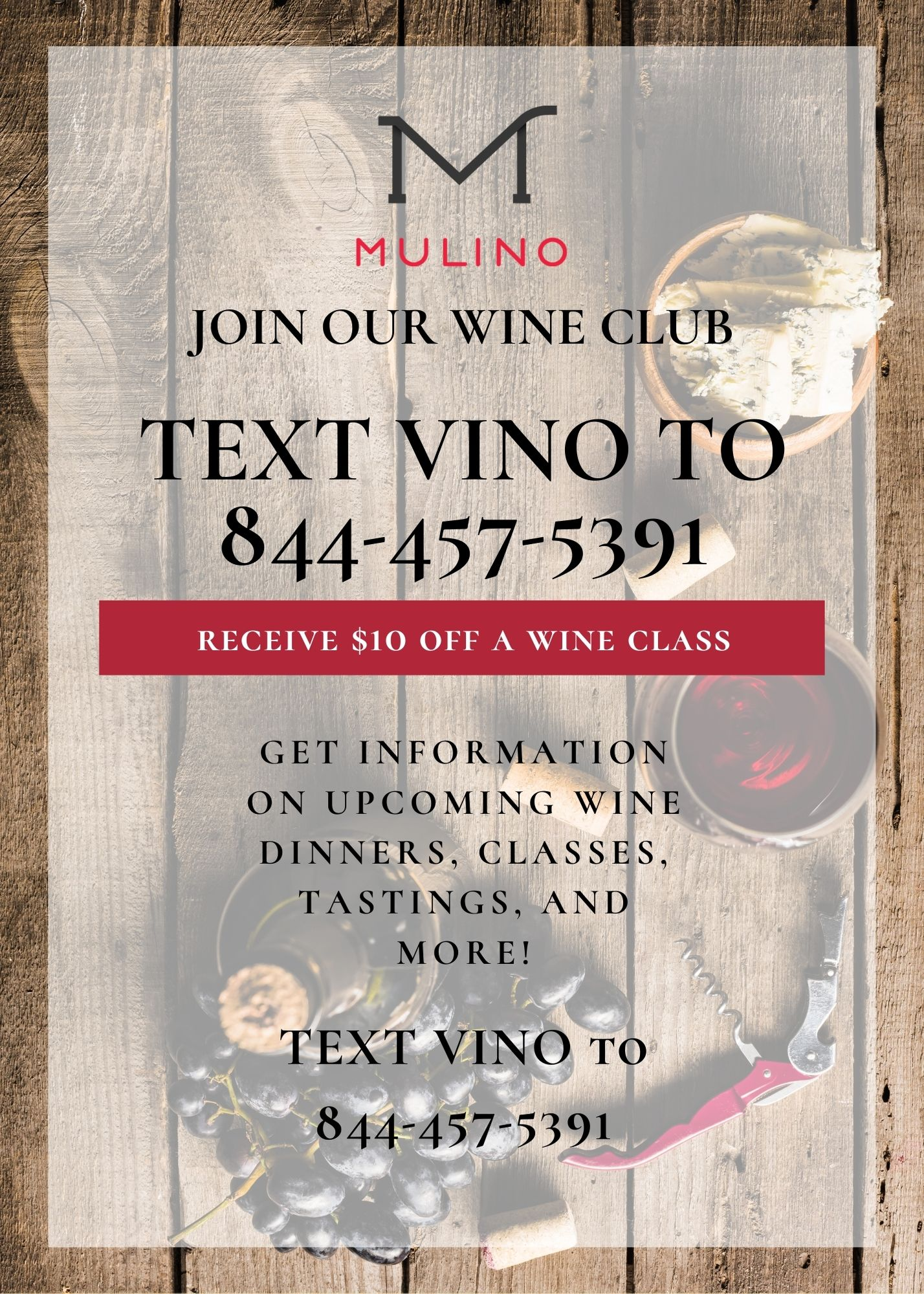 Join the Mulino Italian Kitchen and Bar Wine Club in Raleigh